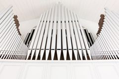 White church organ pipes Royalty Free Stock Images
