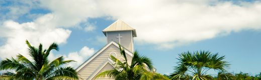 White church and palms Royalty Free Stock Photo