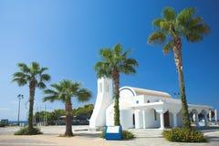 White church and palms, Agia napa. Cyprus Stock Image