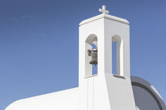 White church and palms, Agia napa, Cyprus.  Royalty Free Stock Image