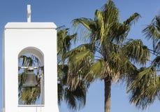 White church and palms, Agia napa, Cyprus Stock Photo