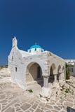 White church in Parakia, Paros island, Greece Stock Photos