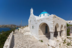White Church in Parikia, Paros island, Cyclades Stock Photo
