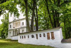 White church in park, Slovakia. White church on Slanicky island, Slovakia royalty free stock images