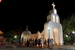 White Church Playa del Carmem Yucatan Mexico Royalty Free Stock Images