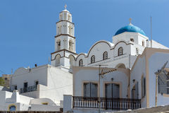 White Church in Pyrgos Kallistis, Santorini island, Thira, Greece Royalty Free Stock Photos