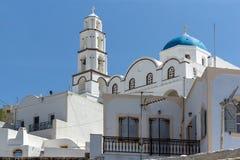 White Church in Pyrgos Kallistis, Santorini island, Thira, Greece Royalty Free Stock Photos