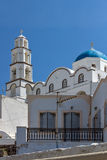 White Church in Pyrgos Kallistis, Santorini island, Thira, Greece Royalty Free Stock Photo