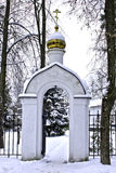 White Church in a quiet, frosty day Royalty Free Stock Images