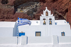 White church and red cliff Royalty Free Stock Photo