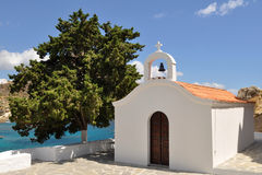 White church on Rhodes island Royalty Free Stock Photography
