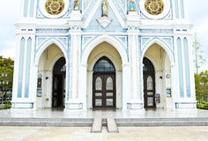 White church in Samut Songkhram Stock Images