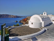 White Church Santorini Greece Royalty Free Stock Photos
