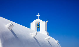 White church in Santorini Greece. Santorini, Greece - White church on blue sky background Stock Images