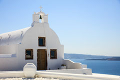 White church in Santorini Greece. Santorini, Greece - White church on blue sky background Stock Photography