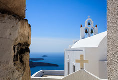 White church in Santorini, Greece. Santorini, Greece - White church and caldera view Stock Images