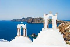 White church on Santorini island, Greece. Beautiful landscape with sea view Stock Photo