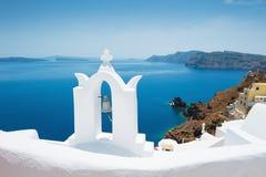 White church on Santorini island, Greece. Beautiful landscape, sea view Stock Photos