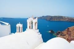 White church on Santorini island, Greece. Beautiful landscape with sea view Stock Photography