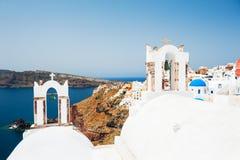 White church on Santorini island, Greece. Beautiful landscape, sea view Stock Photo
