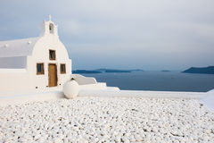 White church in Santorini island, Greece. Stock Photo