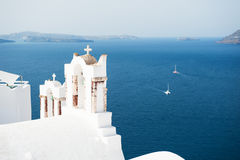 White church in Santorini island, Greece. Stock Images