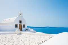 White church on Santorini island, Greece. Royalty Free Stock Photography