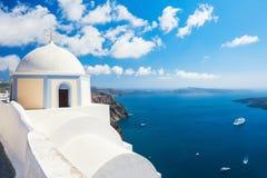 White church on Santorini island, Greece. Beautiful summer landscape, sea view Stock Photo