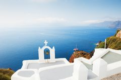 White church on Santorini island, Greece. Beautiful summer landscape, sea view Stock Photography