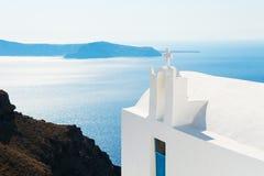 White church on Santorini island, Greece. Summer landscape, sea view Royalty Free Stock Image