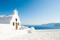 White church on Santorini island, Greece. Summer landscape, sea view Royalty Free Stock Photos