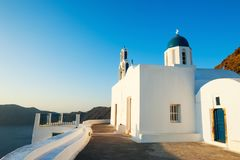 White church on Santorini island, Greece Royalty Free Stock Images