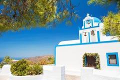 White church on Santorini island, Greece. Summer landscape Royalty Free Stock Image