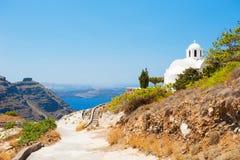 White church on Santorini island, Greece. Summer landscape Royalty Free Stock Photography