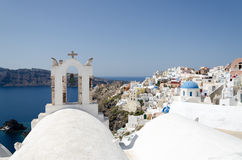 White church on santorini island. Landscape with white church on santorini island Stock Photo