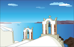 White church in Santorini. Vector illustration. Royalty Free Stock Image