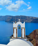 White church in Santorini with views of the sea. Royalty Free Stock Image