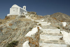 White Church in Serifos Island Stock Image
