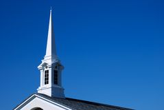 White Church Spire and Roof - Horizontal Royalty Free Stock Images
