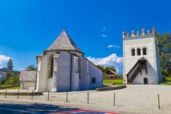 White church of St. Anna and Renaissance belfry. Strazky. Spisska Bela. Slovakia. White church of St. Anna in the Gothic style and Renaissance belfry in Str royalty free stock images