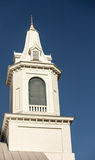 White church steeple. Beautiful wooden white church steeple in the united states Royalty Free Stock Image