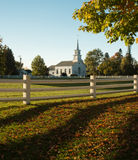 Beautiful white church in Vermont. White church and steeple in the Fall in Vermont Stock Image