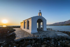 White Church By Sunrise In Crete Royalty Free Stock Photos