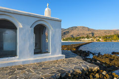 White Church By Sunrise In Crete Stock Image