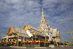 White church in Thai temple Stock Photography