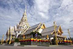 White church in Thai temple Royalty Free Stock Photography