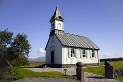 White church in  Thingvellir - Iceland Royalty Free Stock Photo