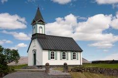White Church in Thingvellir, Iceland Stock Images