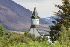 White Church in Thingvellir National park - Iceland Royalty Free Stock Images