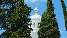 White church top between green trees on blue sky background, peaceful Georgia. Stock footage stock video